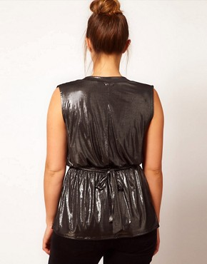 Image 2 of ASOS CURVE Exclusive Wrap Top in Metallic