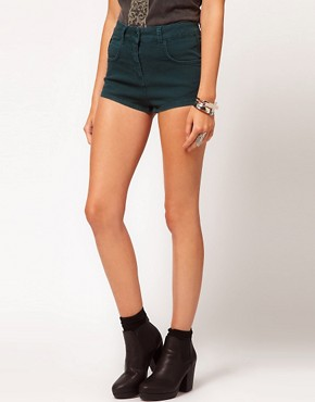 Image 4 of ASOS High Waisted Denim Shorts in Deep Green