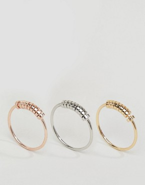 ASOS Pack of 3 Mini Bead Stack Rings