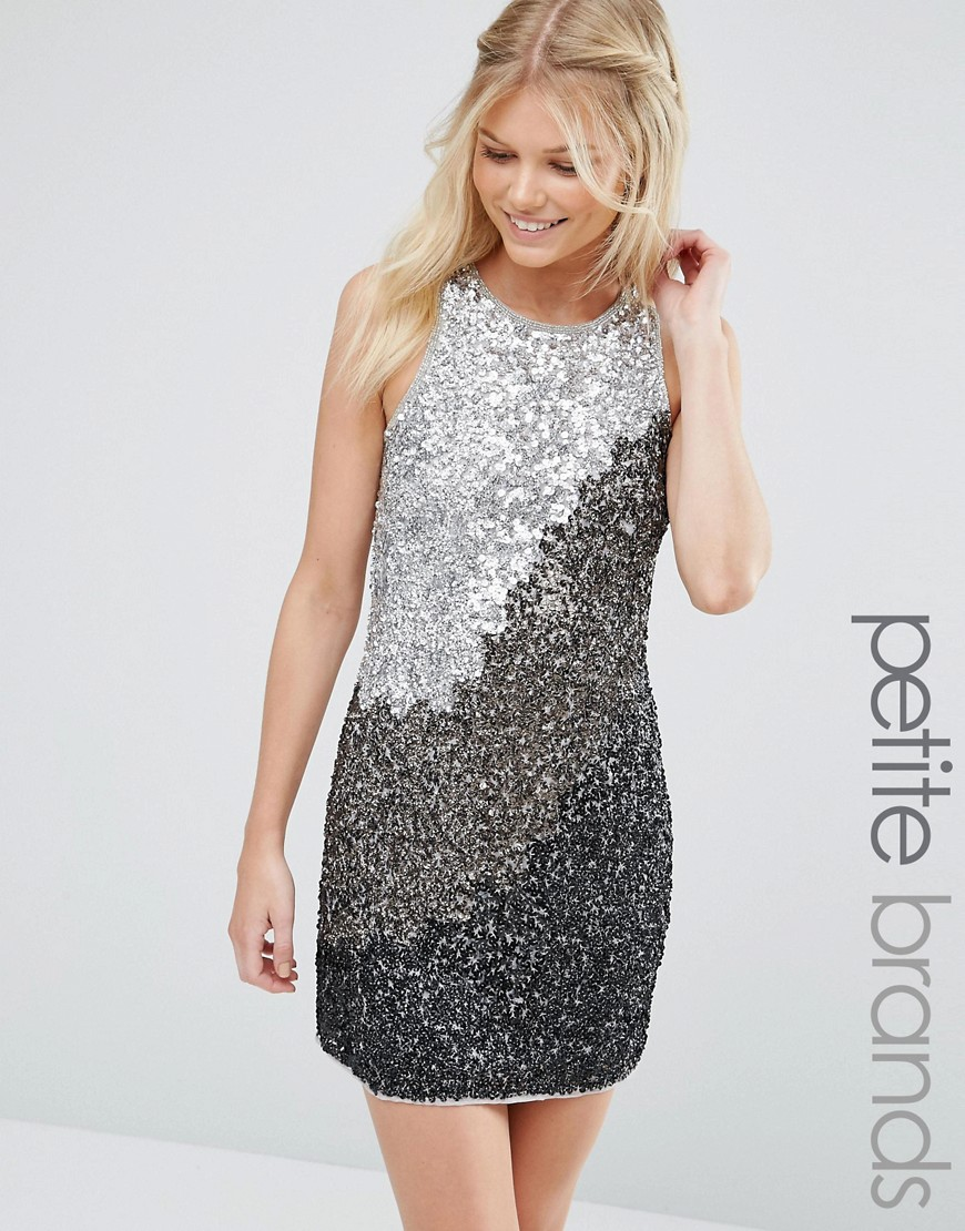 Maya Petite Shift Dress In Tonal Sequins - Gray