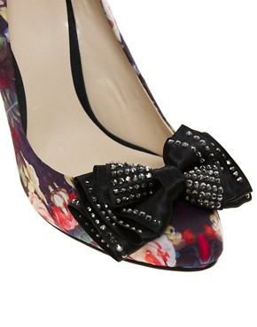 Image 4 ofFaith Ferne Printed Satin Court Shoes