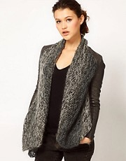 Muubaa Leather Galatti Knitted Waterfall Jacket