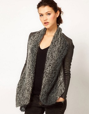 Image 1 ofMuubaa Leather Galatti Knitted Waterfall Jacket