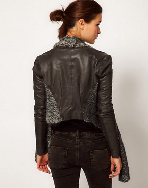 Image 2 ofMuubaa Leather Galatti Knitted Waterfall Jacket