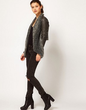 Image 4 ofMuubaa Leather Galatti Knitted Waterfall Jacket