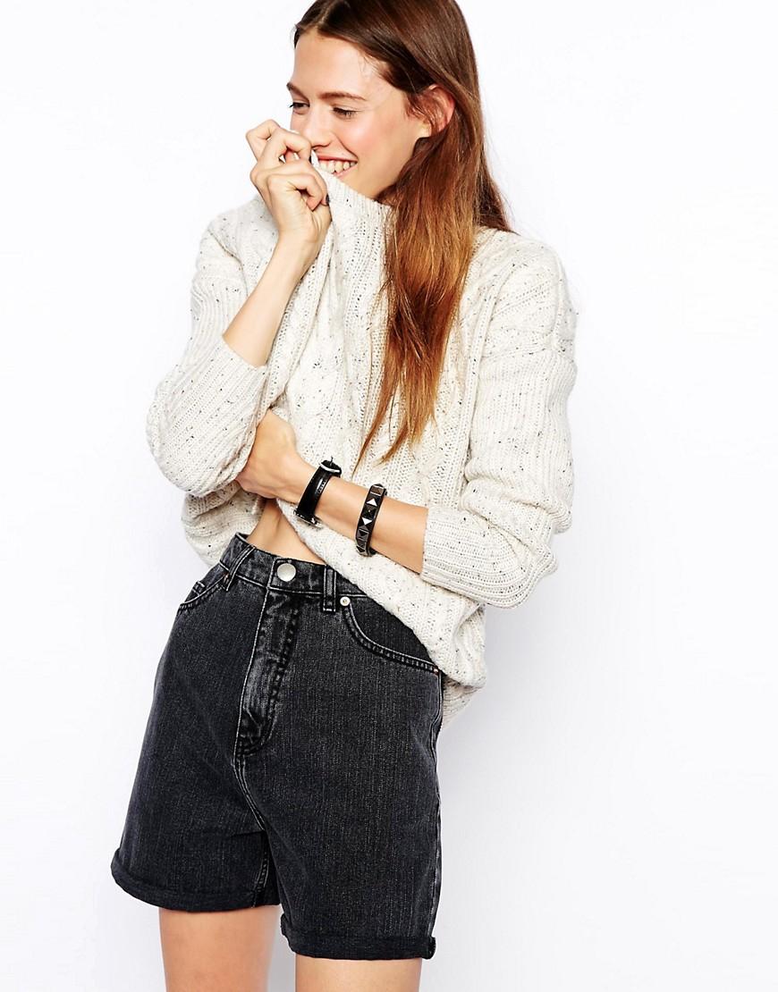 Image 4 ofASOS High Waist Denim Longline Mom Shorts in Charcoal