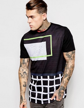 ASOS T-Shirt With Linear Grid Print In Relaxed Skater Fit
