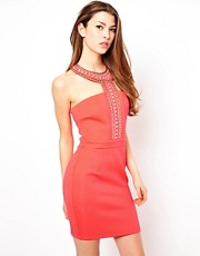 Lipsy Dress With Embellished Neckline