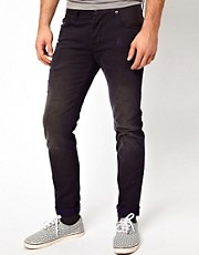 ASOS Slim Fit Ripped Jeans With Navy Contrast