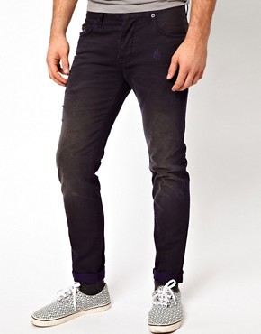 Image 1 ofASOS Slim Fit Ripped Jeans With Navy Contrast