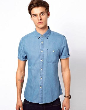 Image 1 ofASOS Denim Shirt With Short Sleeves