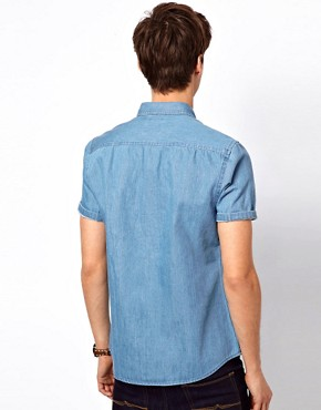 Image 2 ofASOS Denim Shirt With Short Sleeves