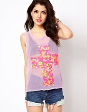 Reverse Top In Floral Cross