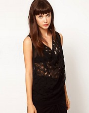 Dagmar Lace Knit Cowl Neck Tank