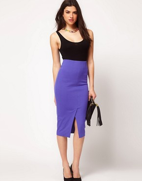 Image 1 ofASOS Pencil Skirt With Vent Front