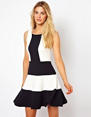 Closet Sleeveless Swing Dress with Contrast Panel
