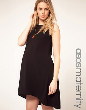 Image 1 ofASOS Maternity Exclusive Swing Dress With Dipped Hem