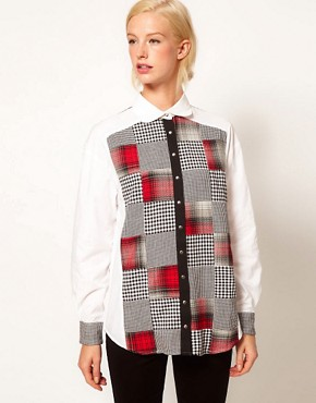 Image 1 ofASOS Shirt With Patchwork Check Prints