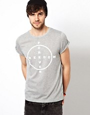 ASOS T-Shirt With Print And Rolled Sleeve