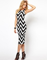 Lavish Alice Midi Dress In Zig Zag