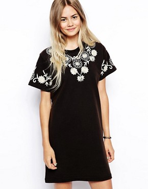 ASOS Embroidered T-shirt Dress With Key Hole Detail - Black