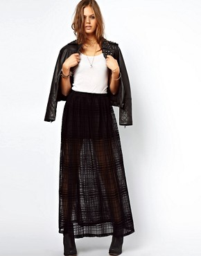 Image 1 of ASOS Maxi Skirt in Sheer Check