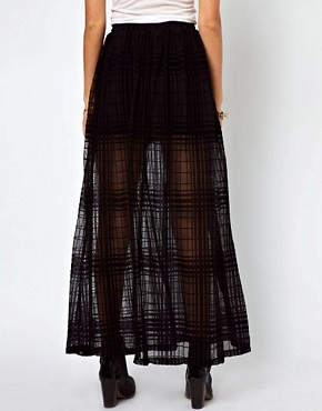 Image 2 of ASOS Maxi Skirt in Sheer Check