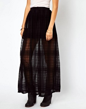 Image 4 of ASOS Maxi Skirt in Sheer Check