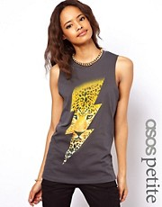 ASOS PETITE Vest With Lightning Leopard Print