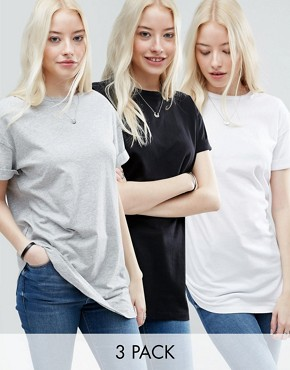 ASOS The Ultimate Easy Longline T-Shirt 3 Pack Save 15%