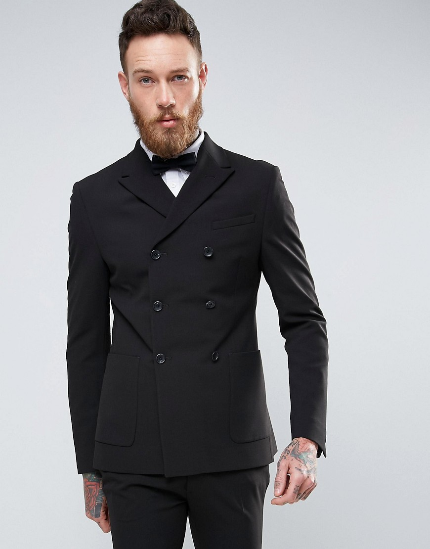 Product photo of Asos super skinny double breasted suit jacket black