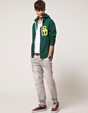 Image 4 of ASOS Hoodie With Varsity Applique