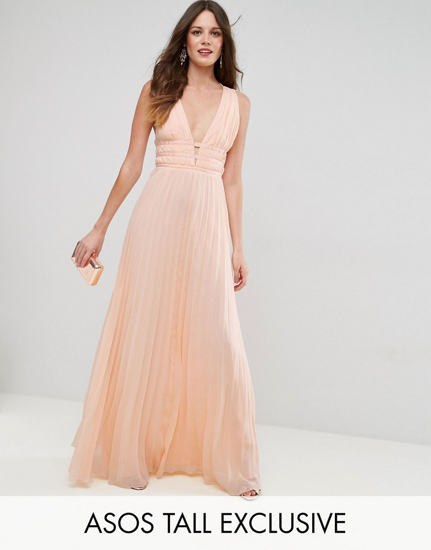 ASOS TALL Plunge Strap Detail Pleated Maxi Dress - Nude
