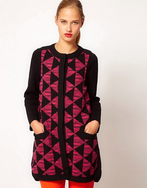 Image 1 ofM Missoni Structured Cardi-Coat With Prism Print