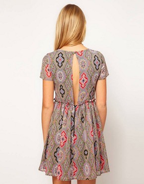 Image 2 ofASOS PETITE Soft Skater Dress In Paisley