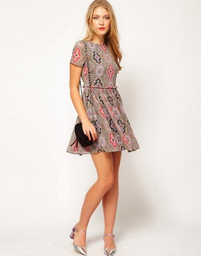 Image 4 ofASOS PETITE Soft Skater Dress In Paisley
