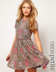 ASOS PETITE Soft Skater Dress In Paisley
