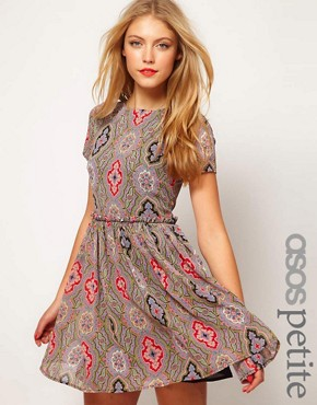 Image 1 ofASOS PETITE Soft Skater Dress In Paisley