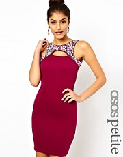 ASOS PETITE Exclusive Bodycon Dress With Embellished Cut Out Collar