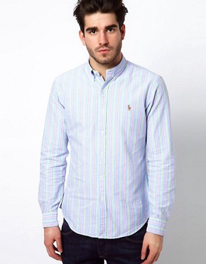 Image 1 ofPolo Ralph Lauren Shirt In Blue Pastel Stripe