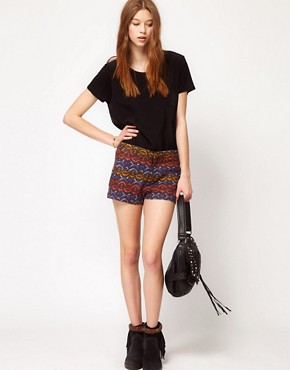 Image 1 ofFree People Tribal Print High Waisted Shorts