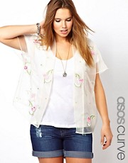 ASOS CURVE Exclusive Kimono In Floral Organza