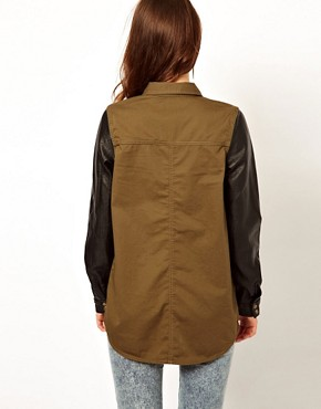 Image 2 ofRiver Island Military Shirt With Leather Look Sleeves