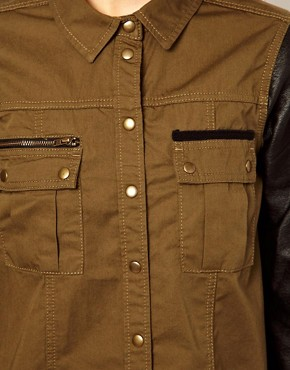 Image 3 of River Island Military Shirt With Leather Look Sleeves