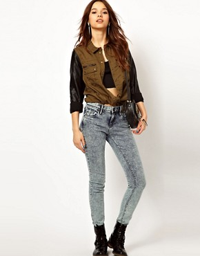 Image 4 ofRiver Island Military Shirt With Leather Look Sleeves