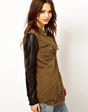 River Island Military Shirt With Leather Look Sleeves