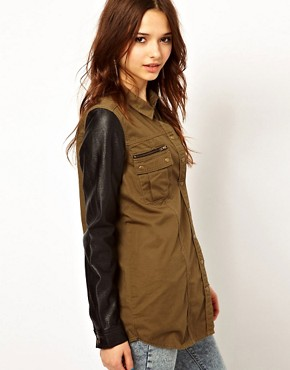 Image 1 ofRiver Island Military Shirt With Leather Look Sleeves