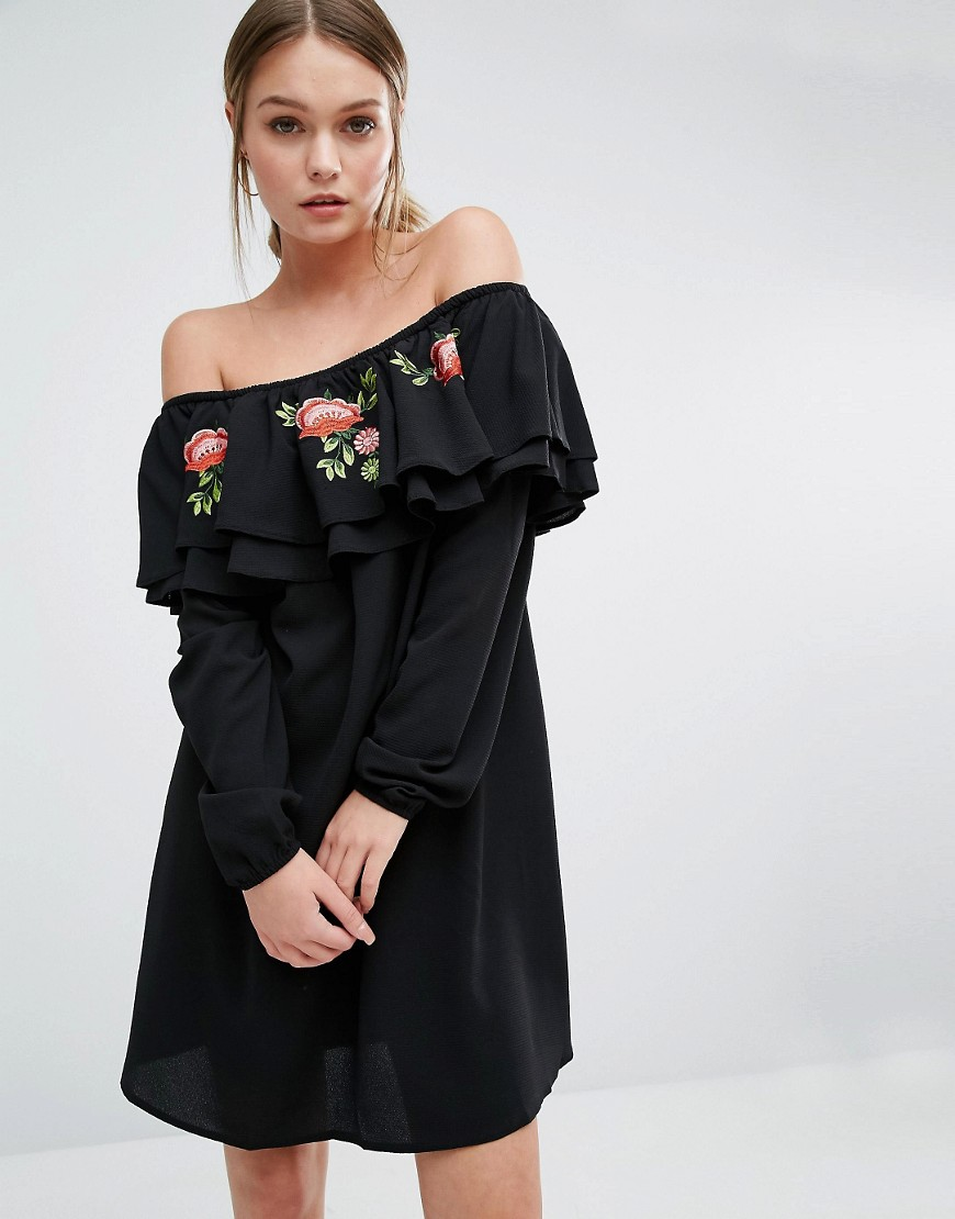 New Look Bardot Embroidered Smock Dress - Black