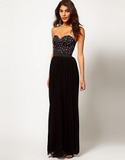 Rare Maxi Dress with Bustier Jewel Embellishment