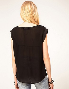 Image 2 ofJust Female Sheer Woven T-Shirt With Silk Trim